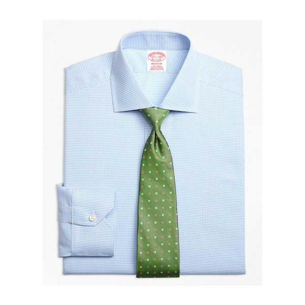 Brooks Brothers Non-Iron Madison Fit Royal Oxford Houndstooth Dress... ($120) ❤ liked on Polyvore featuring men's fashion, men's clothing, men's shirts, men's dress shirts, mens long sleeve cotton shirts, mens oxford shirts, mens short sleeve dress shirts, men's spread collar dress shirts and no iron mens shirts
