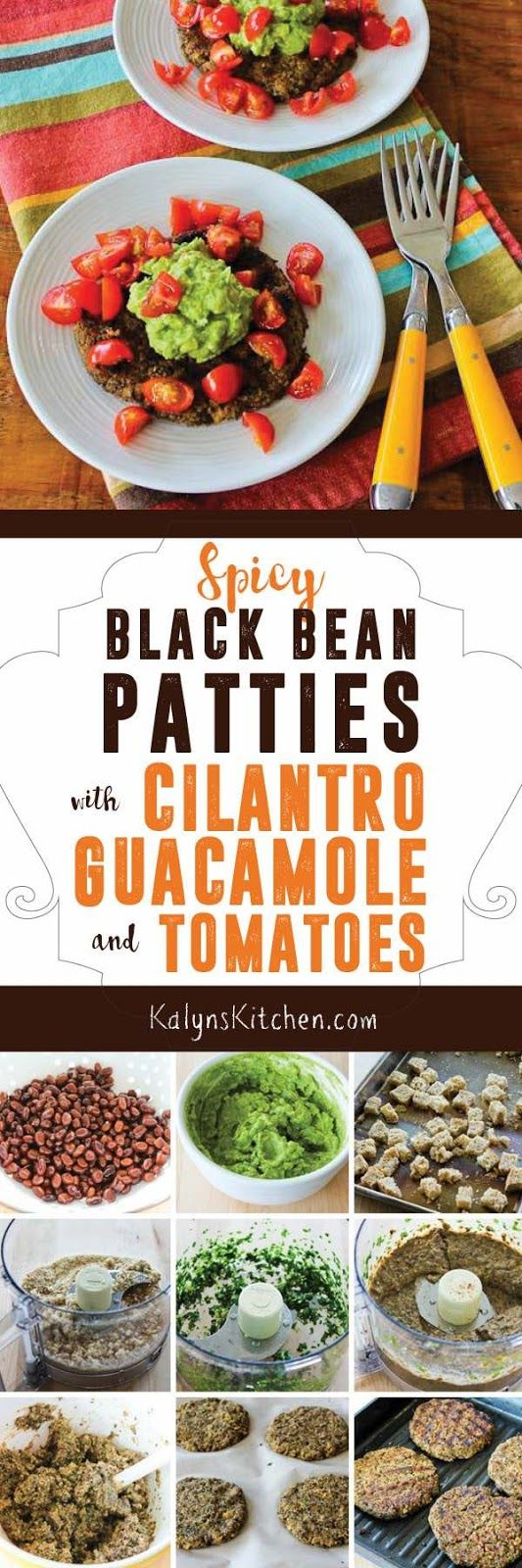 These Spicy Black Bean Patties with Cilantro, Guacamole, and Tomatoes make a perfect Meatless Monday dinner! [found on KalynsKitchen.com]