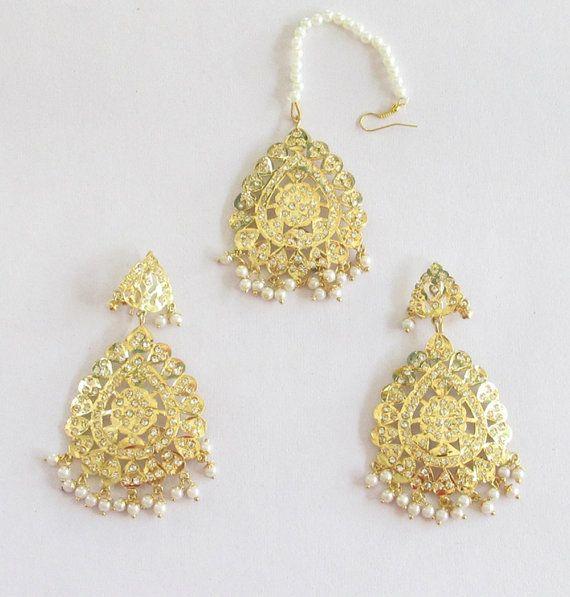 Gold Jadau Pearl Beads Earrings Tikka/Indian by Beauteshoppe