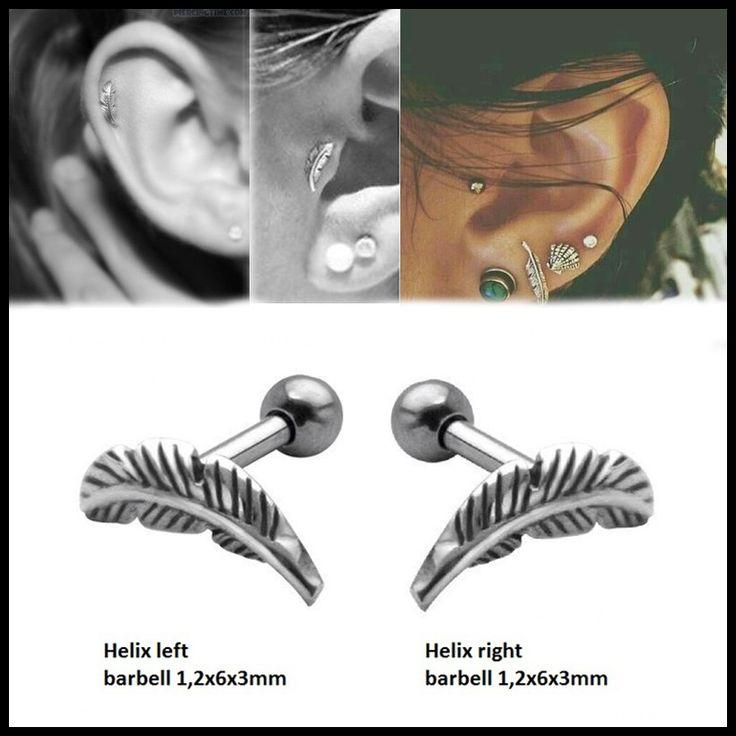 Coppia 316l Acciaio Chirurgico Piuma Cartilagine Helix Bilancere Ear Stud Piercing Orecchino Gioielli Per Le Ragazze Sexy di Modo 16g