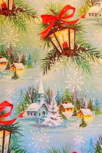 Vintage 1950's Christmas Wrapping Paper Snow Scene and Lanterns. When I was a child the wrapping paper was very thin, not like the sort we get today, but the old sort also made a lovely crackling sound when you opened a present.