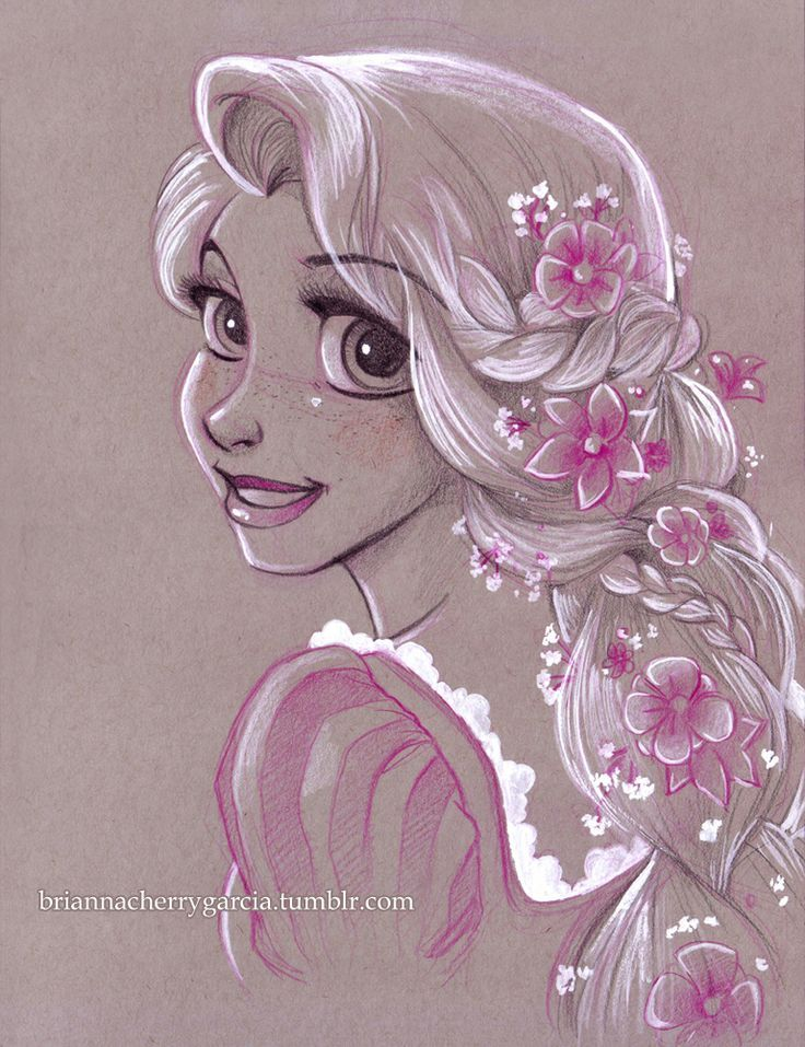 Rapunzel  Desenho em lápis branco.. liiiiiindooo!