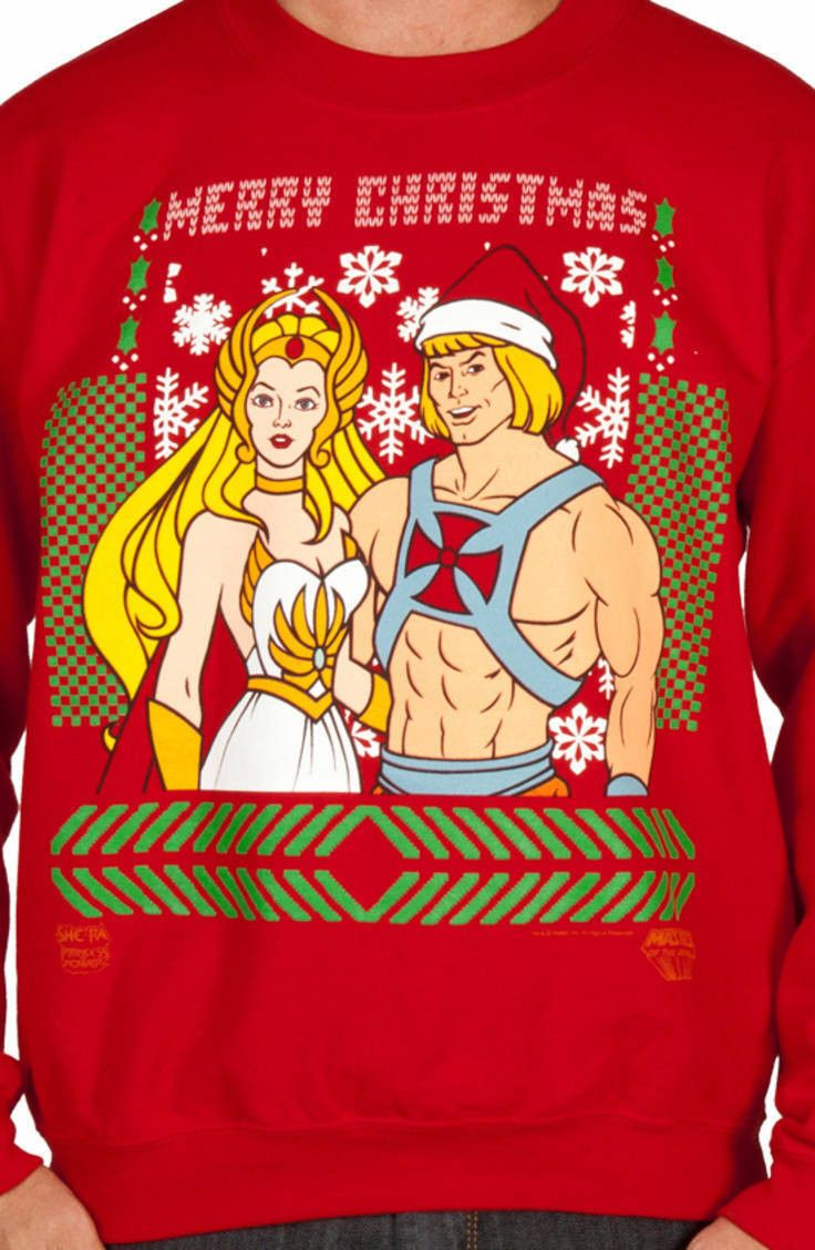 He-Man She-Ra Christmas Faux Sweater  please take a family christmas sweater photo with me.