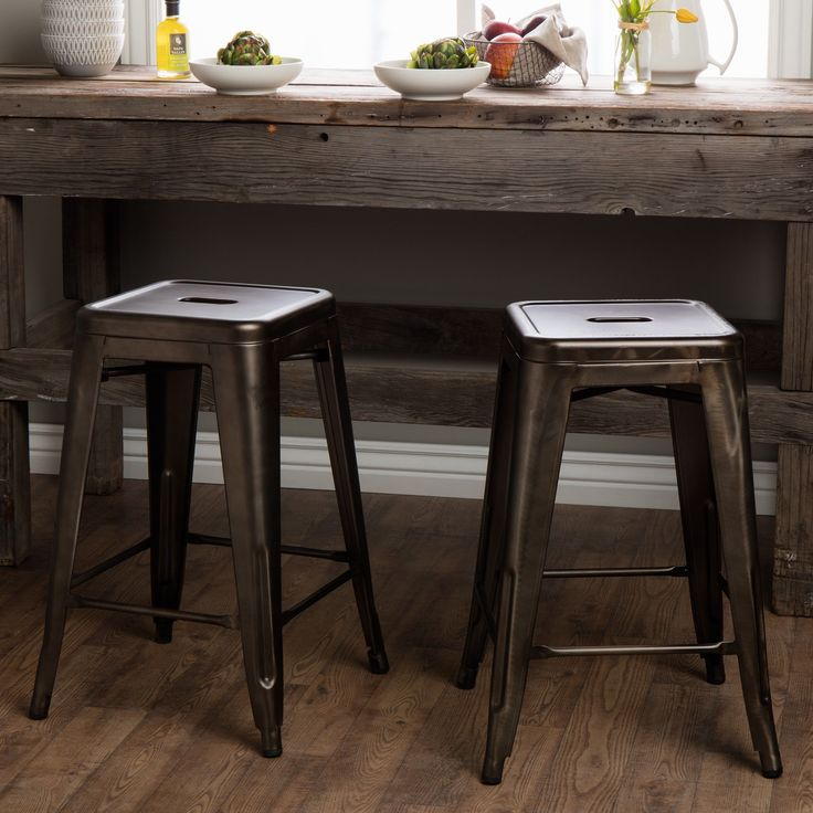 Tabouret 24-inch Vintage Patina Backless Counter Stool (Set of 2) (Gunmetal Grey), Brown, Size 24 Inch