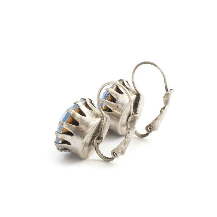 De Luxe Blauwe oorbellen met ronde kristal