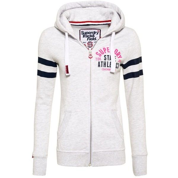 Superdry Track and Field Zip Hoodie ($69) ❤ liked on Polyvore featuring tops, hoodies, grey, women, white hoodies, zip hoodies, cotton hoodies, white hoodie and sweatshirt hoodies