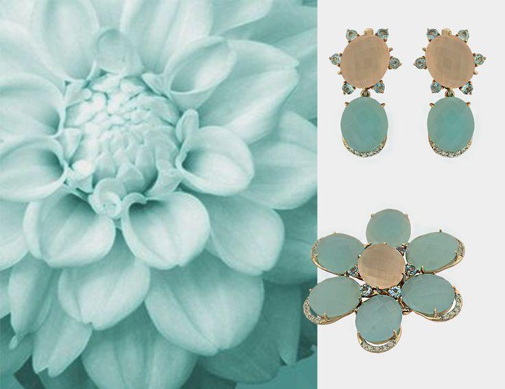 P A V L O V jewellery #pavlov #pavlovjewelry #jewelry #gold #jewels #bijoux #gioielli #ジュエリー # gold 14k. agate aqua. pink agate. diamonds. swiss topaz. price $1400