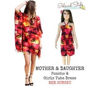 red sunset mother & daughter matching hawaiian poncho and girls dress luau fancy dress