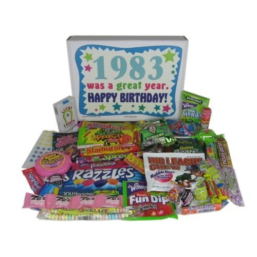 table of retro candy from the 80's.