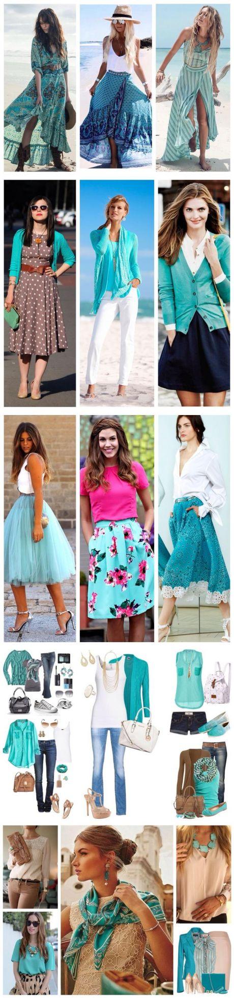 Как правильно сочетать бирюзовый цвет в одежде