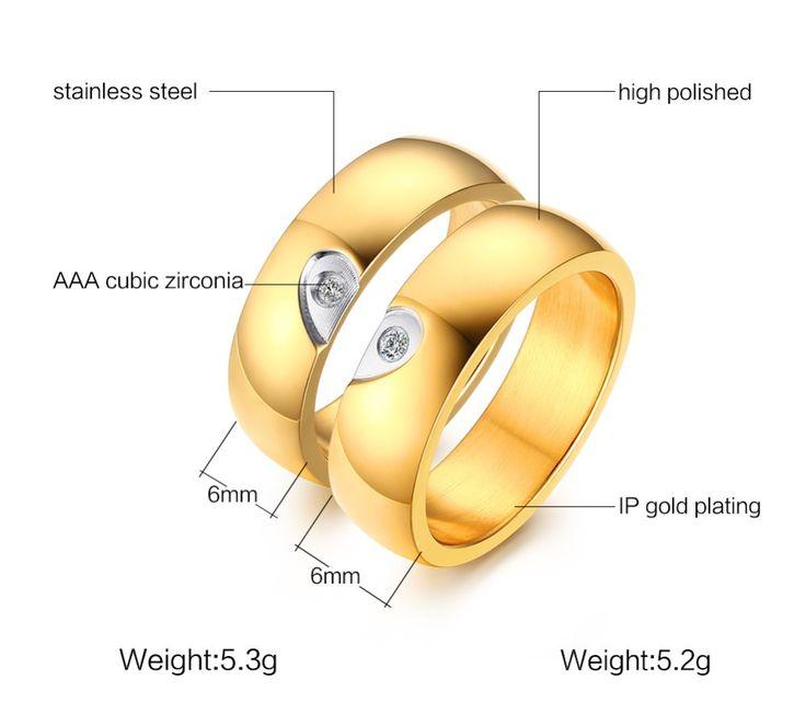 Титана Стали Пары Кольца для Мужчин Женщин IP позолоченные Обручальные кольца Обручальное Годовщина Любителей его и ее обещание купить на AliExpress