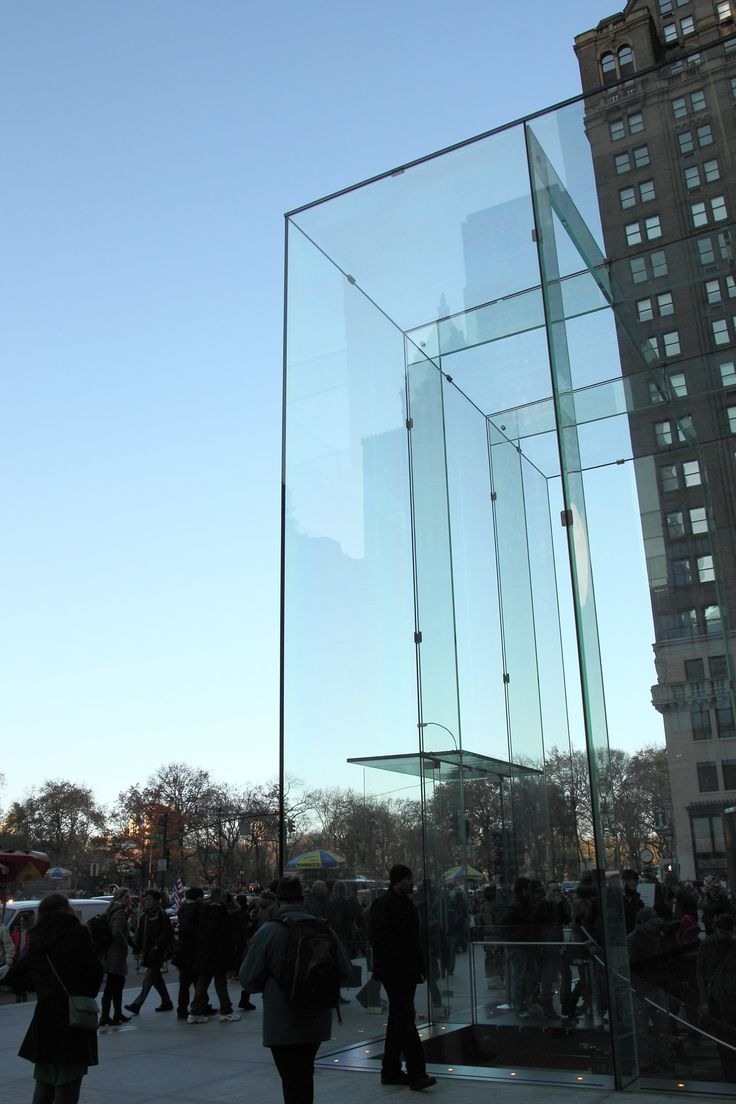 Apple Store Fifth Ave Nyc Glass Fin Glass Block Glass