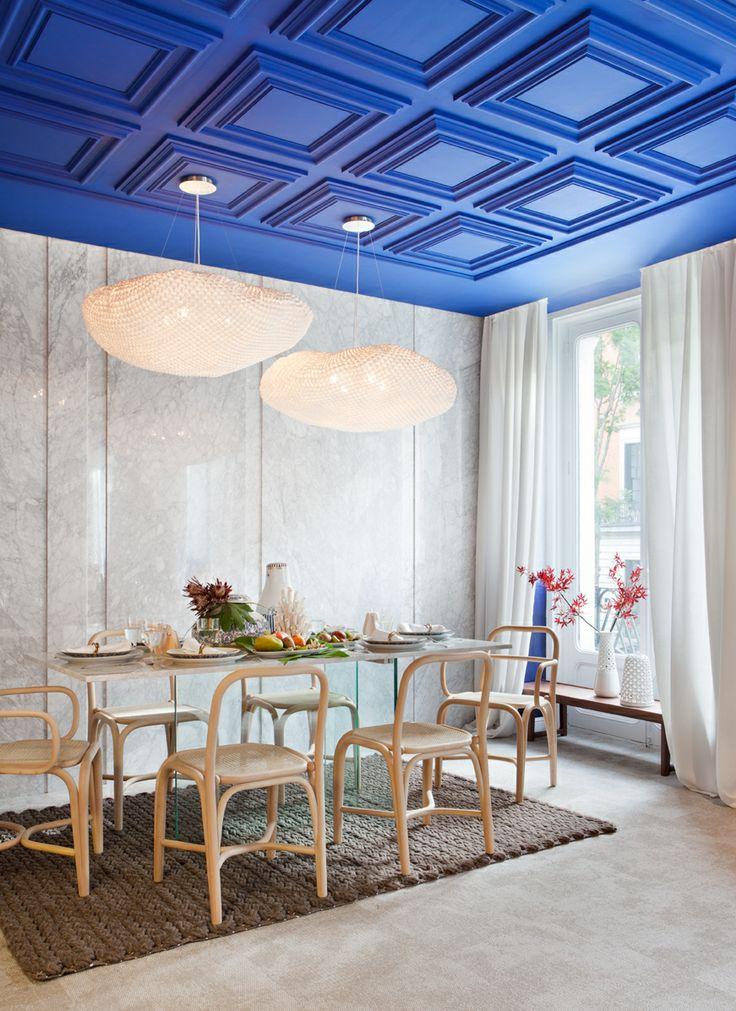 Ideas de #Comedor, estilo #Mediterraneo color  #Azul oscuro,  #Marron,  #Blanco, diseñado por ARTEFACTUM   #CajonDeIdeas