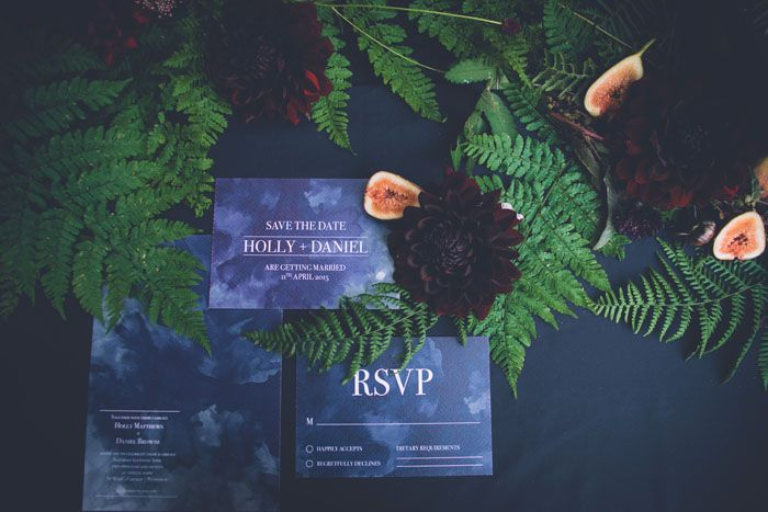 Contrasting wedding decor ideas: Moody Hues Vs Blush & Grey | Moody Hues | Dark blue stationery | weddingsite.co.uk
