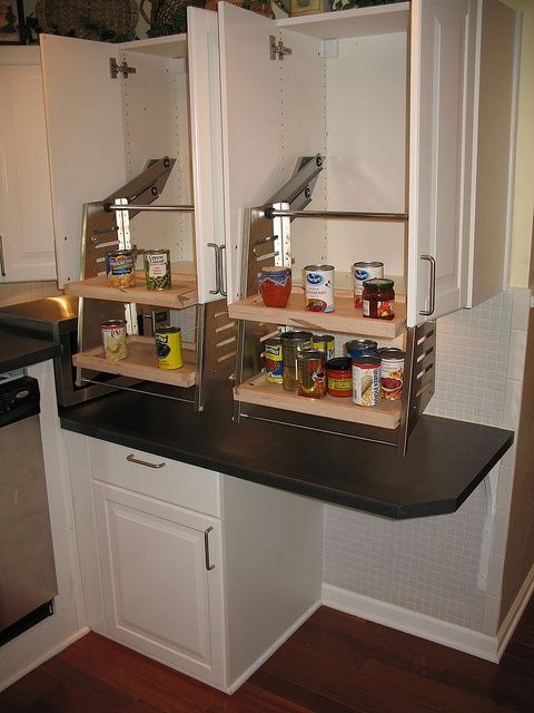 Wheelchair Accessible Kitchens - great idea for drop down shelves!