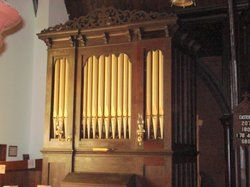 The two-manual-and-pedal, eleven rank pipe organ at Emmanuel Episcopal Church is currently in its third location. Built in 1865 by S.S. Hamill for the Congregational Church of Groveland, Massachusetts read more at http://www.christdivinehealing.org/category/bio-energy-healing/