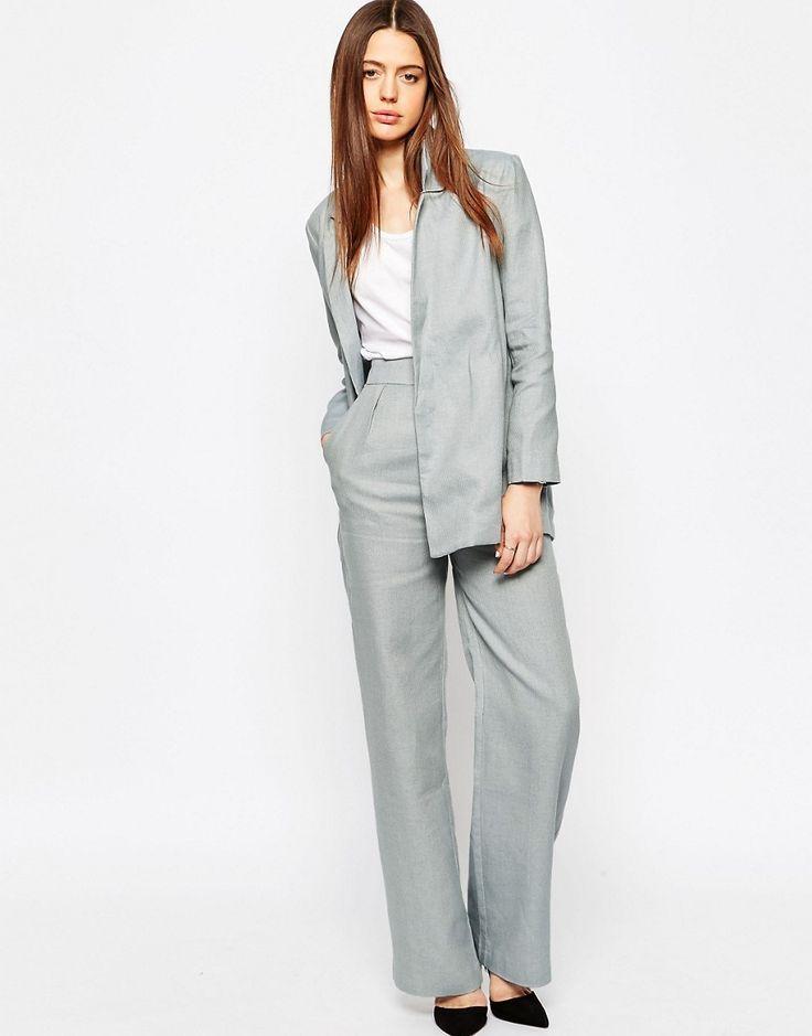Asos wide leg suit trouser in linen at white