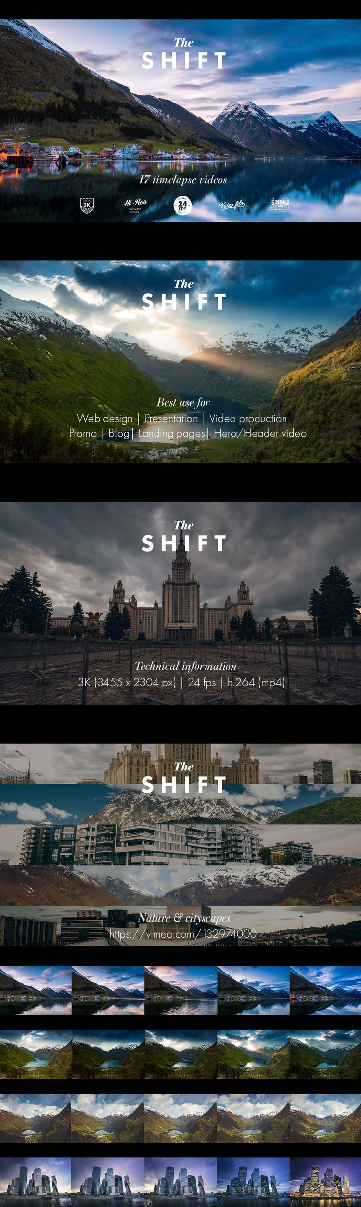 The Shift Timelapse Video Collection - This amazing video collection contains 17, 3K high resolution time lapse videos. Timelapse videos landscapes and cityscapes for your next awesome project from video production to web design and presentations.