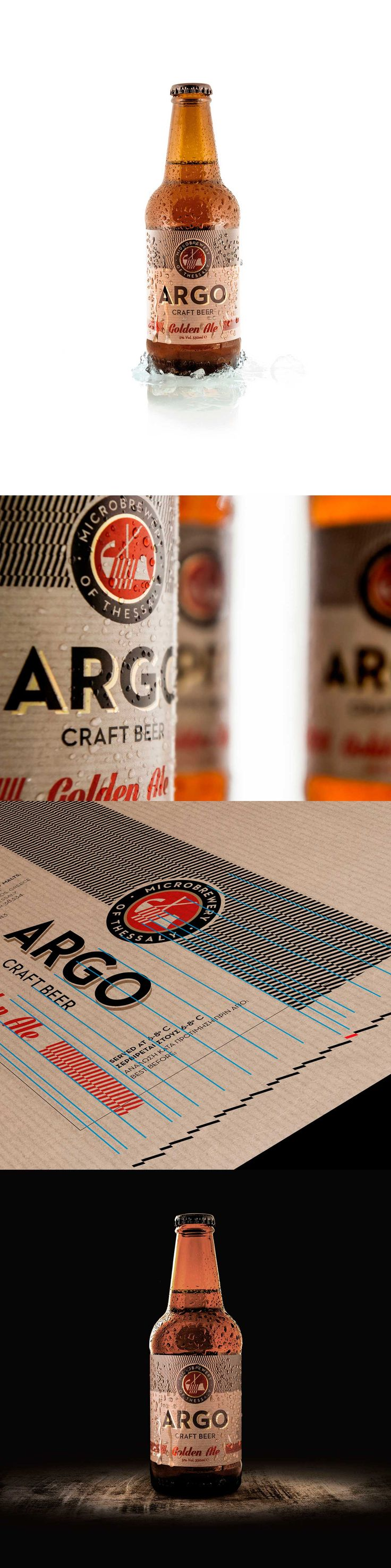 ARGO, a name associated with the journey of Jason found in ancient Greek Mythology. Ancient Greek meander motifs were used on clay pots to measure the amount of wine that was carried within. A simplified motif was created with help of the ARGO paddle. The linear output of each element that structures the beer label, the emblem, the typography, the motif, is carefully placed on the grid. A grid, which its measure is taken straight out of the ARGO paddle, the driving force in the taste…