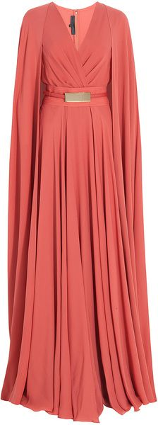 ELIE SAAB Long Cap Detail Gown - I woudl just be swooshing and swooping in my cape all day with this on!