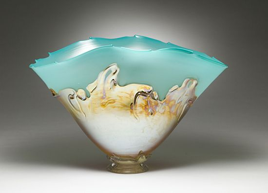 """""""Turquoise with Yellow Iris Overlay""""  by Dierk Van Keppel.: Glasses Artists, Glasses Vessel, Keppel Great Artists, Iris Overlays, Glasses Bowls, Yellow Iris, Vans Keppel, Dierks Vans, Art Glasses"""