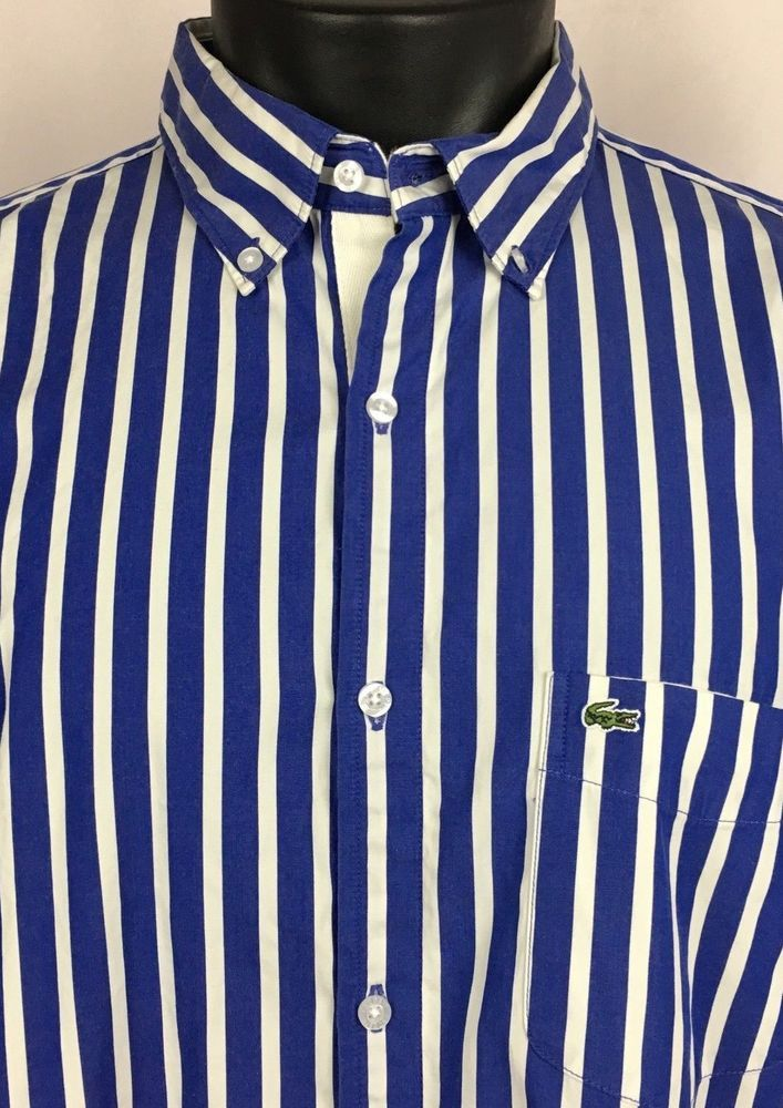133c2ab777 NWT LACOSTE 45 XXL Shirt Mens Regular Fit Blue White Striped Button Up  Cotton LS #Lacoste #ButtonFront