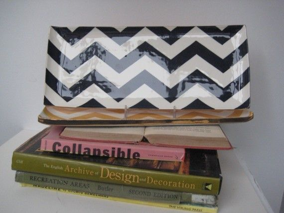 cocktail tray in chevron pattern by jill rosenwald. i love her work!