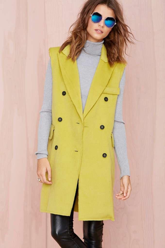 BLQ Basiq Victoria Sleeveless Coat - Lime