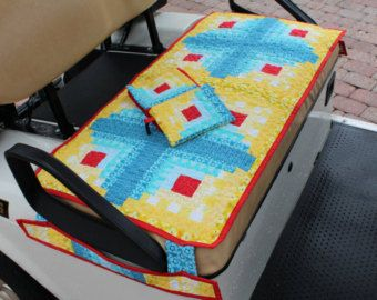 Quilted Golf Cart Seat Cover plus Golf Towel & Ditty Bag