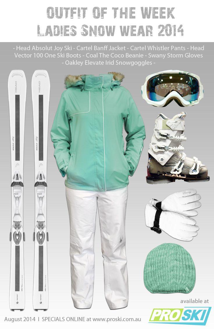 OUTFIT OF THE WEEK - Ladies Snow Wear 2014 available at PROSKI www.proski.com.au #snowtrends #snowgear #snowfashion #oufitoftheweek #skiboots #skis #beanie #gloves #headski #carteljacket #oakleygoggles #coalbeanie