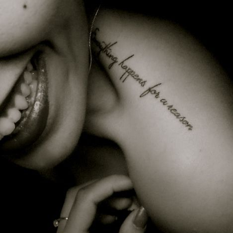 little trapezius tattoo saying everything happens for a. Black Bedroom Furniture Sets. Home Design Ideas