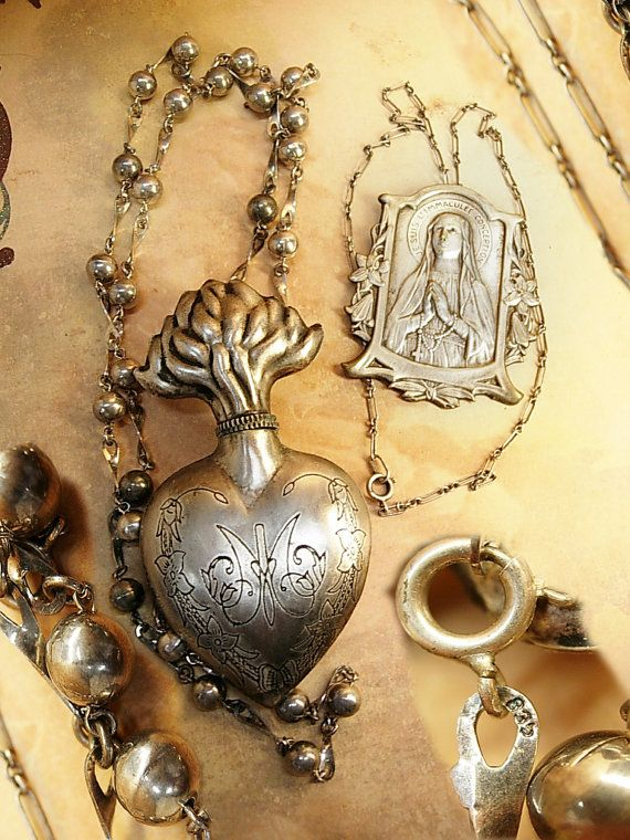 Sacre Coeur necklace sterling silver Ex Voto Holy water holder