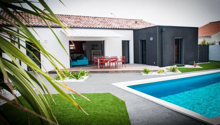 Maison avec piscine - Architecture Contemporaine - Idée terrasse - Toit terrasse - Toit plat - Réalisation Maisons d'en France Atlantique