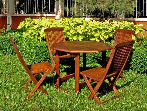 """38"""" Round Stow Away Wooden Table with 4 Wooden Folding Chairs (Stain) (28""""H x 38""""W x 38""""D) by International Caravan. $425.00. Chairs Stowaway so that they out of the way!. Color: Stain. Size: 28""""H x 38""""W x 38""""D. Great for the patio and pool area!. Easy to maintain!. Outdoor gatherings and get-togethers are that much more enjoyable when you're lounging, relaxing, and enjoying the finest in outdoor furnishings. Imagine a one-stop complete set of chairs and table, t..."""