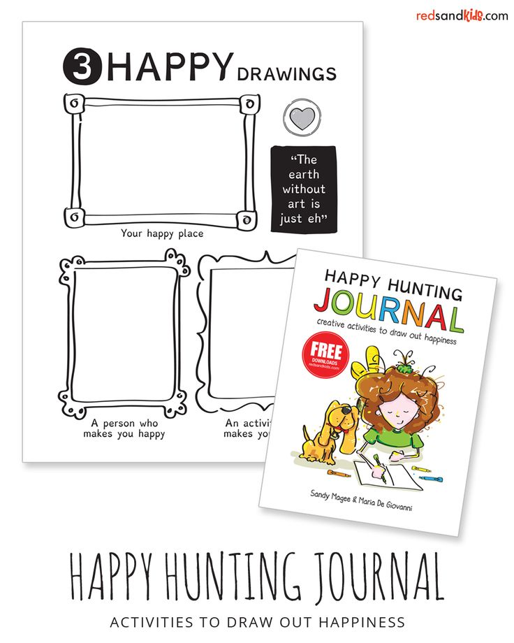 kids' journal of activities to support happy thoughts, feelings and actions / co-created by a teacher/child therapist and a professional artist / redsandkids.com/journal and amazon