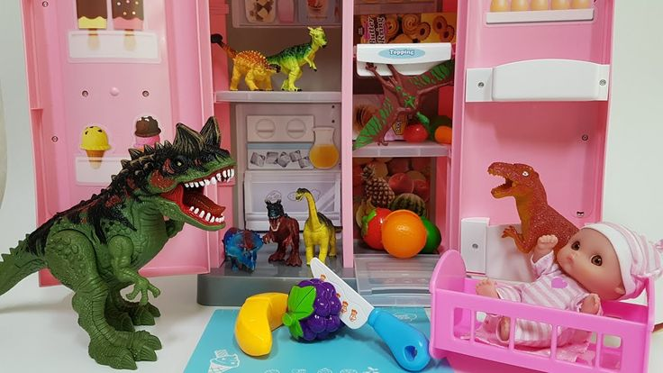 Dinosaurs and Animals and Babydoll Fruit Toy Play & 공룡 베이비돌 동물 과일 장난감