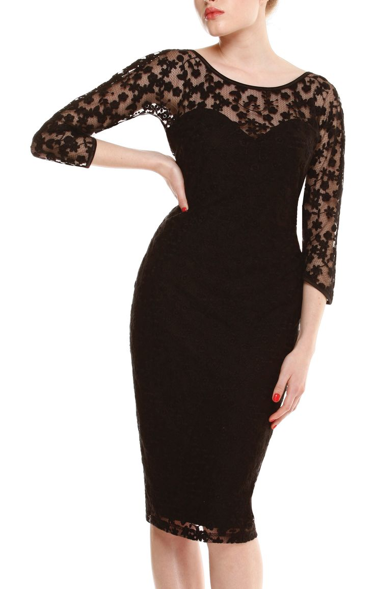 PRIMROSE 3/4 SLEEVE FITTED SWEETHEART NECK LACE DRESS IN BLACK