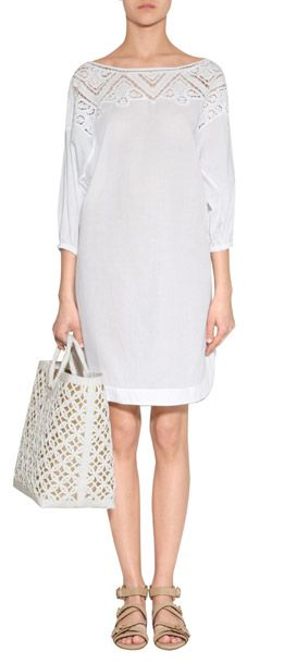 Luxuriöses Kaftan-Kleid aus feiner, weißer Baumwolle vom italienischen Nobel-Label Ermanno Scervino #Stylebop
