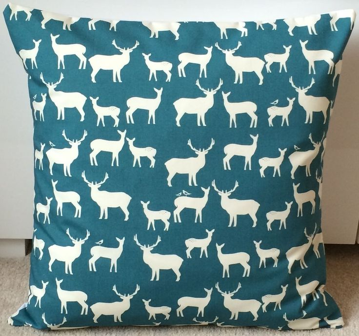 NEW 18 Stag & Deer Cushion Cover - Teal Cushion, Scandinavian Cushion, Retro