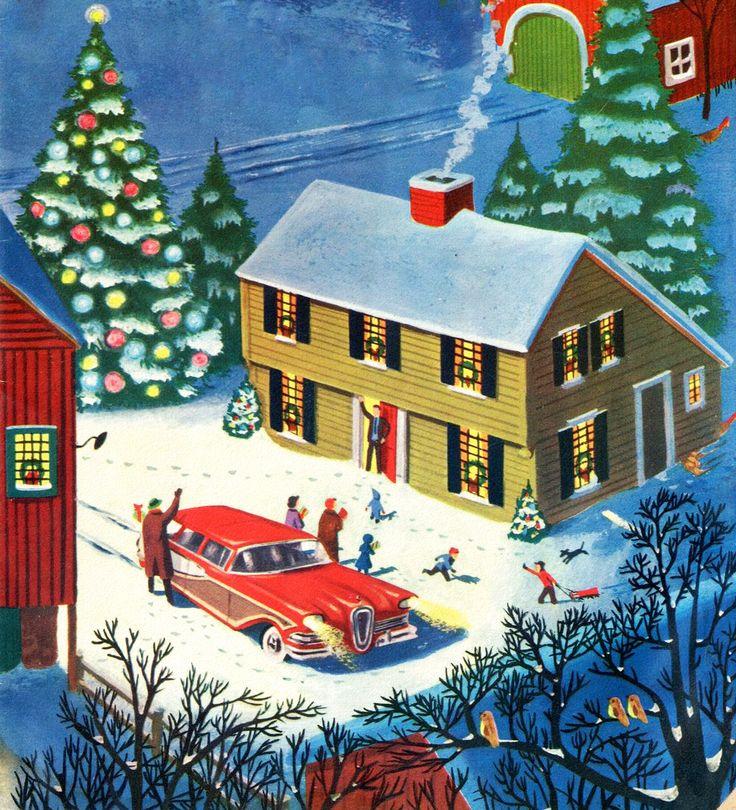 Vintage Christmas scene - winter - mid century modern