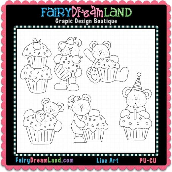 Cupcake Bears Hodge CU Digital Stamps by FairyDreamLand.com