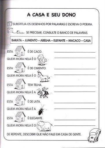 """ATIVIDADES PORTUGUES 1º ANO DO ENSINO FUNDAMENTAL ~ """" Cantinho do Educador Infantil """""""