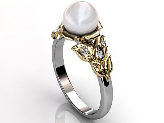 14k two tone white and yellow gold South Sea pearl by Jewelice, $920.00