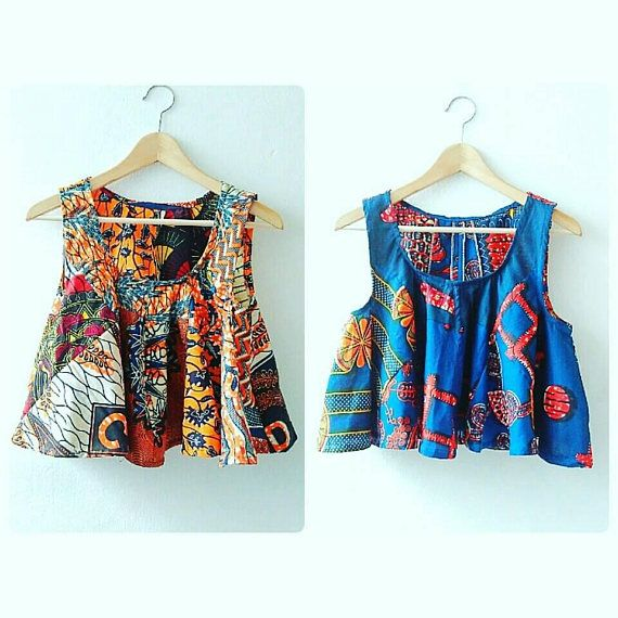 Introducing the summer festival style flared Ankara clothing crop top range made with mixed African Ankara prints. Available made to order to any size. ** please note print combo can vary per order, however colours will remain the same. Please allow 2-3 weeks for custom orders