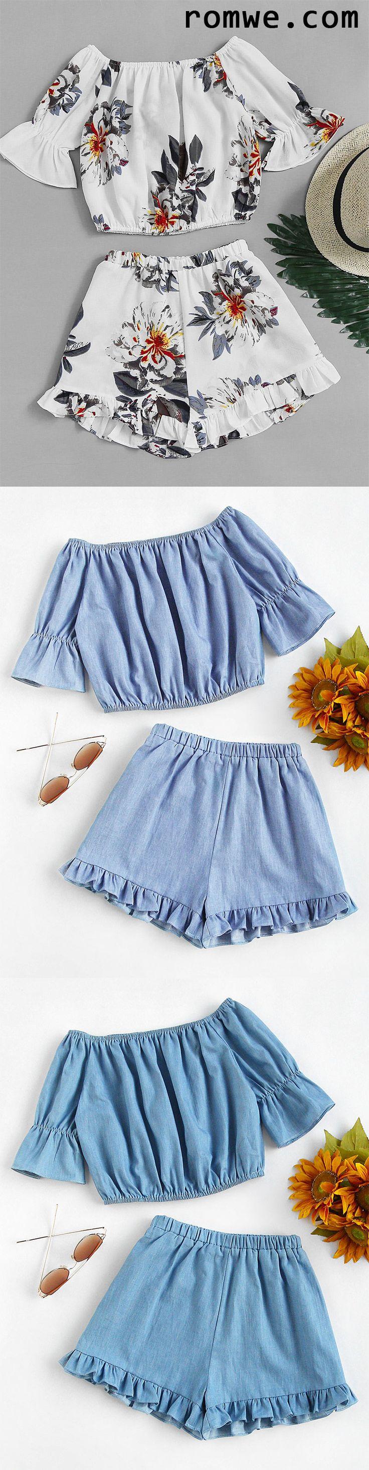 Bardot Florals Crop Top With Frill Hem Shorts