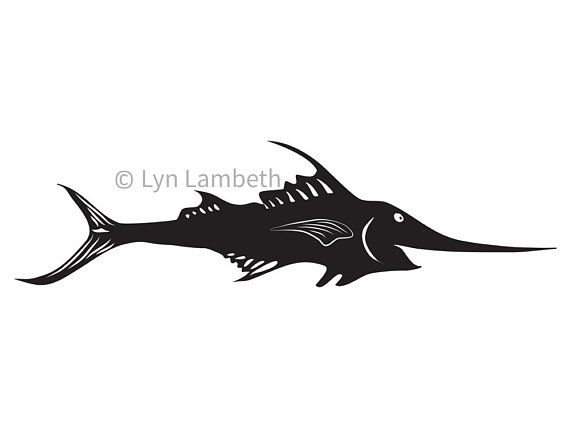 Marlin clip art, smiling fish instant download, commercial use SVG