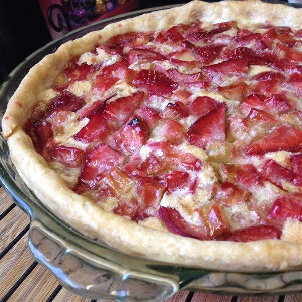 "Strawberry Rhubarb Custard Pie I ""This is a really easy, fun recipe. Everyone in my family loved this custard pie so much, I have made three in the past week."""