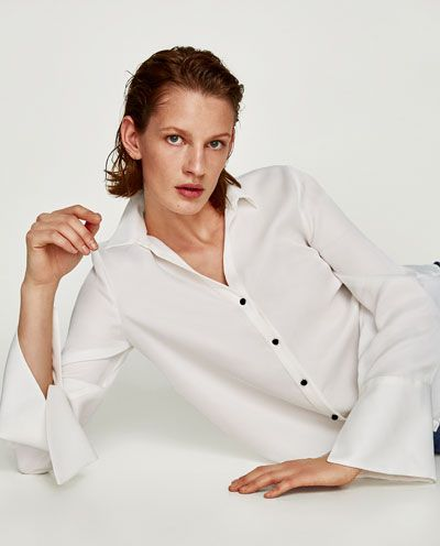 Image 6 of SATIN SHIRT WITH EMBELLISHED CUFFS from Zara