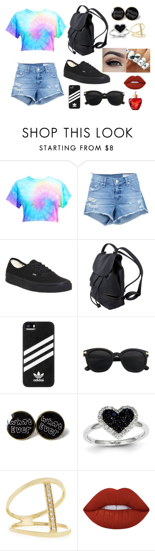 Outfit 11 by sarahcb2002 on Polyvore featuring rag & bone/JEAN, Vans, Sydney Evan, Kevin Jewelers, adidas, Lime Crime and Lolita Lempicka