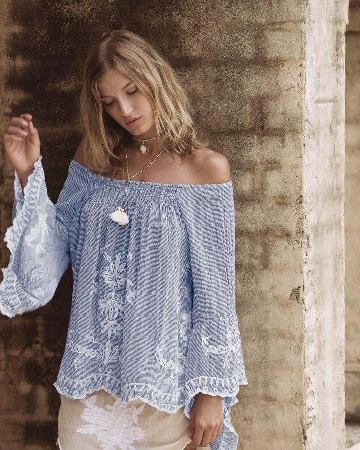Ruby Yaya | Spring Summer 2017 Lovely boho embroidered off shoulder blue indigo shirt (blouse). Beach Style.  #Bohemian #craft #handmade, #embroidery #elegant #classic #blouse #offshoulder